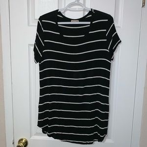 Black w/ White Stipes 1X Short Sleeve